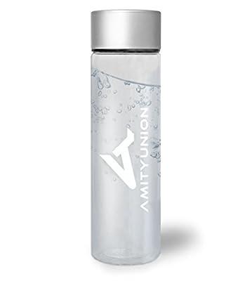 AMITYUNION Gym Fruit Bottle klar auslaufsicher | 1 Liter BPA freie Tritan Kunststoff Trinkflasche Sport | Obst Detox Wasserflasche | Ohne Weichmacher | Schule Yoga Wandern Reisen Büro Uni Fahrrad