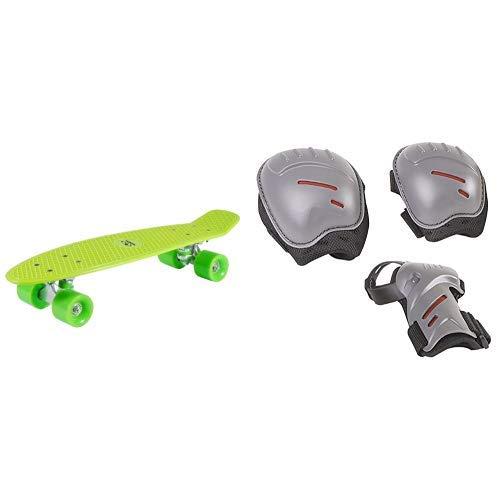 HUDORA Unisex - Kinder 12136 Retro Skateboard, zitrone grün & HUDORA Protektoren-Set Kinder, biomechanisch, Gr. S (ca. 3 - 7 Jahre) - Schutzausrüstung Inliner Skater, Rollschuhe - 83161/AM