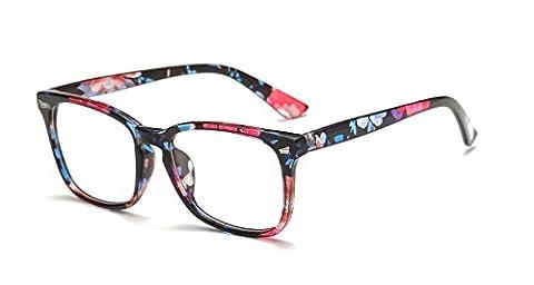 Dollger Fashion Square Glasses Classic Tone Luxury Glasses Travel Glasses Horn Rimmed Glasses for Women(Clear Lens+Print Flower Frame)