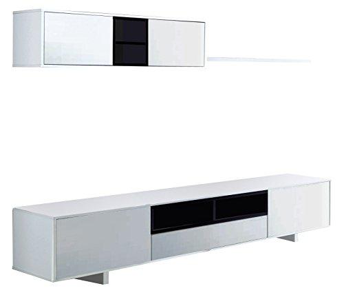 Habitdesign 0T6682BO - Mueble de Comedor Moderno, Color Blanco Brillo y Negro...