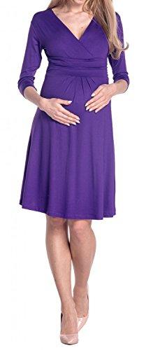 Happy Mama Damen Umstandskleid Festlicher Stretchkleid V-Ausschnitt 282p Lila