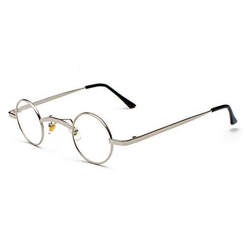 YMTP Kleine Runde Brille Rahmen Männer Retro-Brille Transparent Objektiv Brille Unisex, Silber Mit Klar