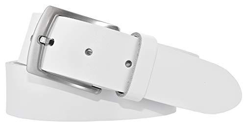 Bernd Götz Herren Leder Gürtel 35 mm Ledergürtel Jeansgürtel Herrengürtel kürzbar (115 cm, Weiß)
