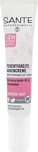 SANTE Naturkosmetik Feuchtigkeits Augencreme, Glättet Trockenheitsfältchen, 12h Hydro-Depot, Intensive Feuchtigkeit, Vegan, 15ml