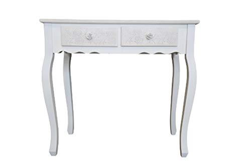 elbmöbel Konsolentisch mit 2 Schubladen Creme weiß Ablage aus Holz Anrichte weiß beige Rosen-Handgriff Landhaustil Barock 80cm