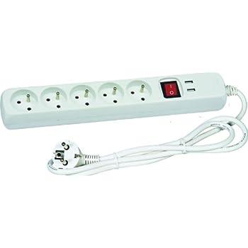 Voltman DIO013038 Bloc multiprises 5 x 10/16 A + 2 ports USB avec interrupteur