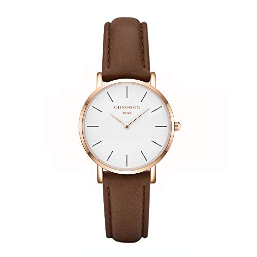CHRONSO Frauen Analoge japanische Quarzwerk Uhr mit Lederband Männliche Mode Einfache Braune Uhren