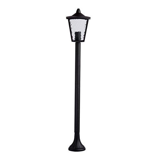 Lampadaire extèrieur de jardin de style rustique en mètal couleur noir et abat-jour en mètal et verre ampoules 1 * 60 W E27 non incluses IP44 lumière chaude