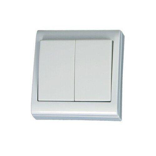 Garsaco-Doppio commutatore superficie 80 x 80 mm, 10a gsc A, colore: bianco