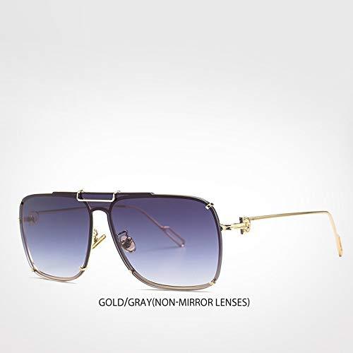 LXXSSRA Sonnenbrille Top Ice Blue Mirror Sonnenbrille Shades Markendesigner Square Sun Glasses Men Trend Blue Mirror Lens