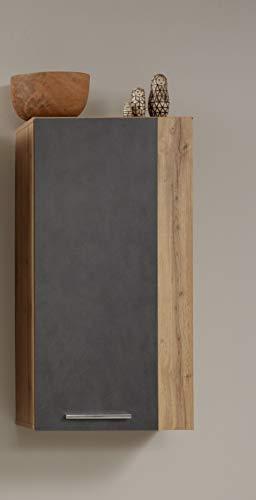 trendteam Wohnzimmer Schrank Wohnzimmerschrank Hängeschrank Rock, 52 x 103 x 31 cm in Korpus Wotan Eiche Dekor, Front Matera Dekor mit viel Stauraum und zwei Einlegeböden
