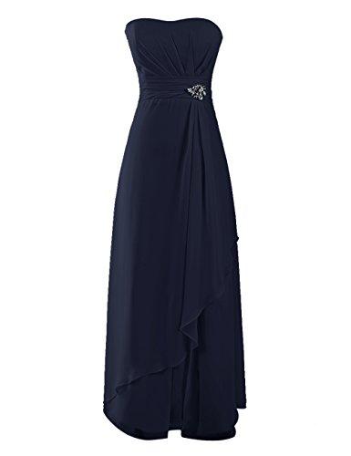 Dresstells, Robe de soirée de mariage/cérémonie/demoiselle d'honneur mousseline forme princesse sans bretelles avec emperler Marine