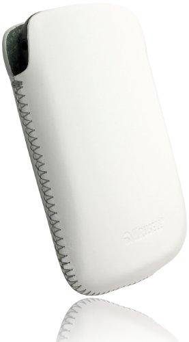 Krusell Donsö Leder Etui Tasche für HTC Wildfire S weiß