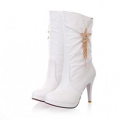 RTRY Scarpe Donna Pu Similpelle Autunno Inverno Comfort Novità Moda Stivali Stivali Stiletto Heel Round Toe Stivali Mid-Calf Fiore Per Party &Amp; US8 / EU39 / UK6 / CN39