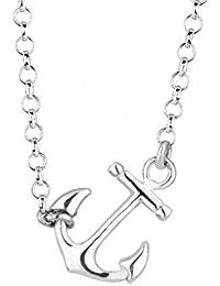 Elli Damen Schmuck Halskette Kette mit Anhänger Anker Maritim Hanseatisch Hafen Silber 925 Länge 45 cm
