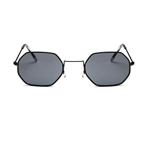 YOURSN Polygon Sonnenbrille Frauen Männer Designer Vintage Sonnenbrille Gold Klar Sonnenbrille Sexy Paar Brillen Kleine Shades-Black