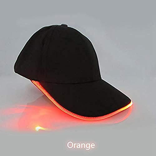DWcamellia Hut Frauen S Dance Baseball Cap Led Lichter Glow Club Party Schwarz Baumwolle Reisen Männer S Hut Baseball Cap Cap Orange