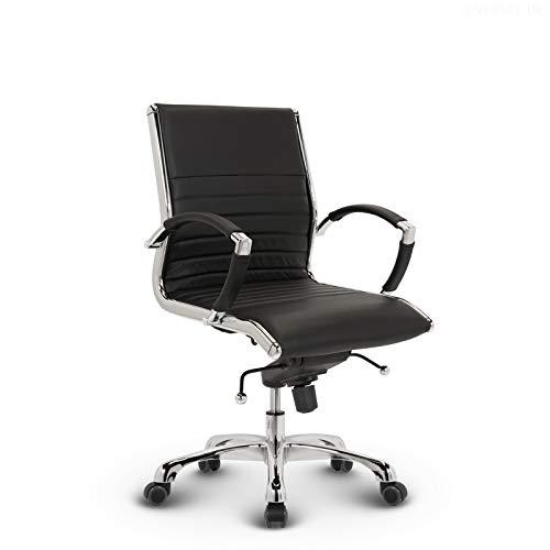 VERSEE Design Bürostuhl Montreal - Echt-Leder - schwarz - Konferenzstuhl, Meetingstuhl, Drehstuhl, Bürodrehstuhl, Schreibtischstuhl, Designklassiker, hochwertige Verarbeitung, Stuhl, 150 kg belastbarkeit