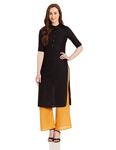 W for Woman Straight Kurta (17FE15881-68890_6_BLACK)