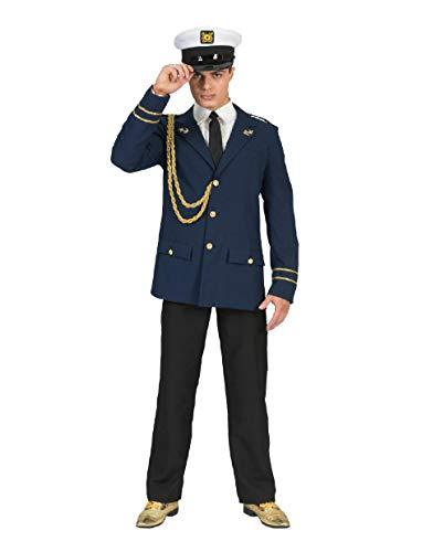 Pierro's Karnevalshop Marine Kapitän Jack Kostüm - Blau Gold - Gr. 56 (Navy Offizier Jacke Für Erwachsene Kostüm)
