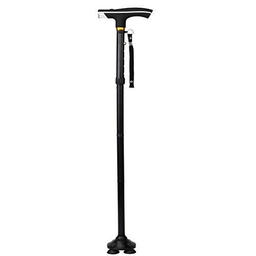 Cw0607 canne regolabili portatili pieghevoli bastoni da passeggio a quattro zampe con luce a led per interni ed esterni per gli anziani,black