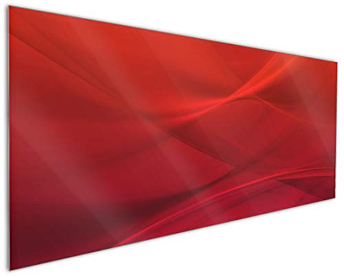Wallario Küchenrückwand aus Glas, in Premium Qualität, Motiv: Abstrakte rotes Muster - roter Stoff | Spritzschutz | abwischbar | pflegeleicht -