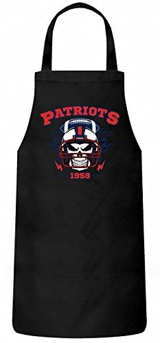 Patriots Skull Schürze   American Football   Totenkopf   Football-Helm   Kochen & Backen   Grillschürze, Farbe:Schwarz (Black PW102);Größe:60cm x 87cm