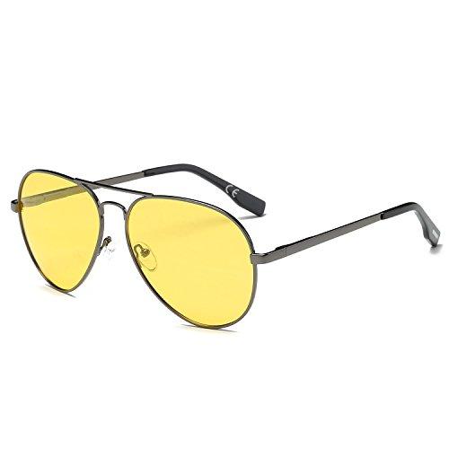 lle Klassisch Mode Doppelbrücke Metall Rahmen Pilotenbrille Gelb Linsen Polarisiert Damen Und Herren Aviator Sonnenbrille (Gelbe Gläser)