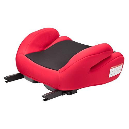 Clamaro \'Guardian Mini\' Autositzerhöhung ISOFIX der Gruppe II und III (15-36 kg), Autositz Sitzerhöhung für Autos mit oder ohne Isofix, Kinderautositzerhöhung gemäß ECE R44/04 - Schwarz/Rot