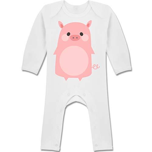 Schweinchen Babys Kostüm - Shirtracer Karneval und Fasching Baby - Fasching Kostüm Schweinchen - 6-12 Monate - Weiß - BZ13 - Baby-Body Langarm für Jungen und Mädchen