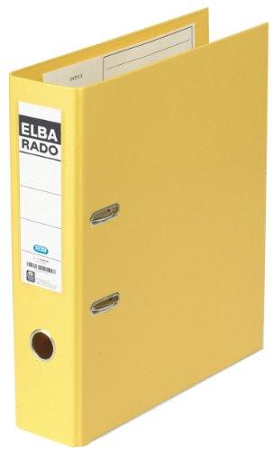 ELBA Kunststoff-Ordner rado plast 20 Stück 8 cm breit DIN A4 gelb mit Einsteckrückenschild Ringordner Aktenordner Briefordner Büroordner Plastikordner Schlitzordner