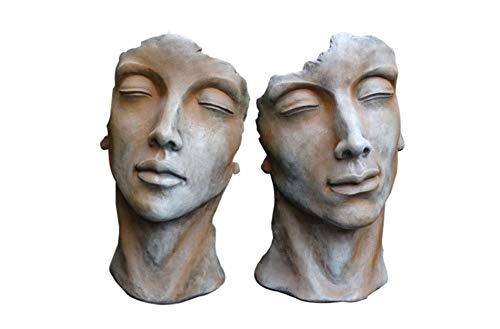 Skulptur Portrait Gesicht Gesichter Mann und Frau H53cm Rosteffekt Steinguss Steinfigur Vidroflor Gartenskulptur + Original Pflegeanleitung von Steinfigurenwelt Giessen
