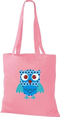 ShirtInStyle Jute Stoffbeutel Bunte Eule niedliche Tragetasche mit Punkte Karos streifen Owl Retro diverse Farbe, braun rosa