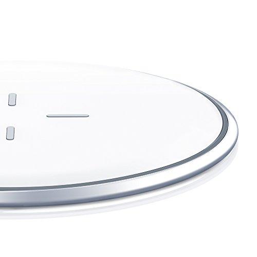 Chargeur sans Fil, ESR Chargeur à Induction Rapide Station de Rechargement sans Fil Qi [Alliage de Zinc] [Ultra fin] [Garantie à Vie] 5W pour iPhone X / iPhone 8 / iPhone 8 Plus, [Charge Rapide] [Fast Charge] 10W pour Samsung Galaxy S9 / S9+ / Note 8 / S8 / S8+ / S7 / S7 Edge (sans adaptateur secteur), Blanc