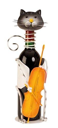 Unbekannt Wein Flaschenhalter Katze mit Kontrabass 36 cm Deko Flaschenständer