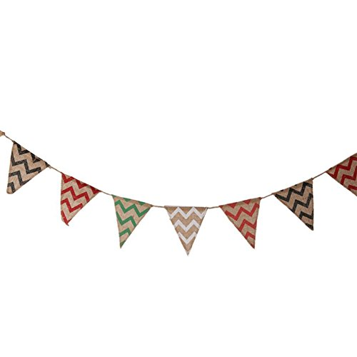 YARBAR groupe 2,8 m $fournitures vintage mariage bannière hesse bande chevron shabby rustique pays toile banner mariage decor bunting