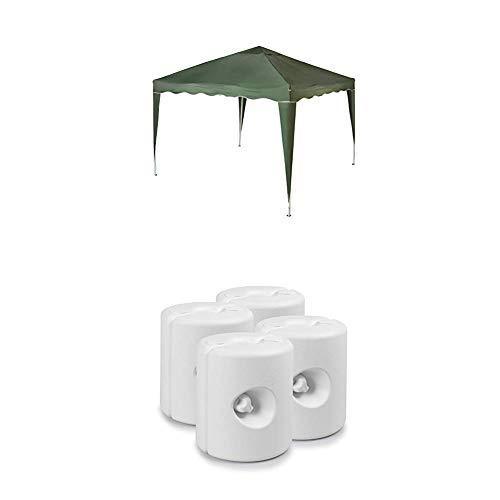 Vanage Pavillon Stella grün aus Aluminium ohne Seitenwände, Faltpavillon einsetzbar als Gartenpavillon, Gartenmöbel + Pavillonstandfüße zur Stabilisation des Pavillons, Mit Wasser/Sand befüllbar, weiß