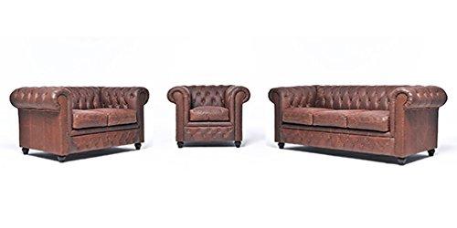 Original Chesterfield Sofas und Sessel – 1 / 2 / 3 Sitzer – Vollständig Handgewaschenes Leder – Vintage Braun