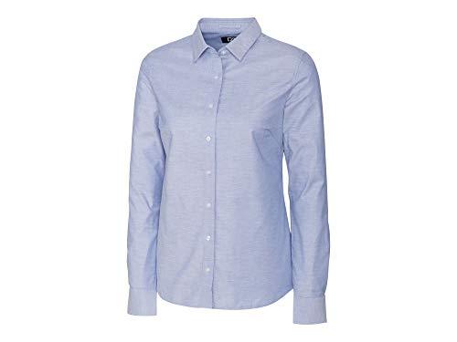 Cutter & Buck Damen Wrinkle Resistant Stretch Long Sleeve Button Down Shirt Smokinghemd, Light Blue Oxford, Klein Buck Oxford