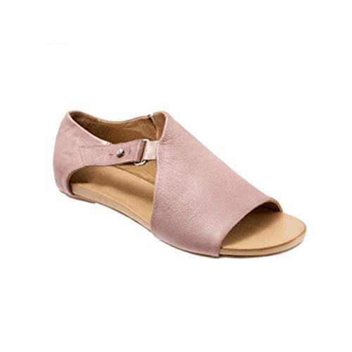 sandalet Women Shoes Casual Sandals 2019 Summer Plus Size 34-43 Ladies Mature Concise Summer Beach Shoes Woman Low Heels Pink 6.5