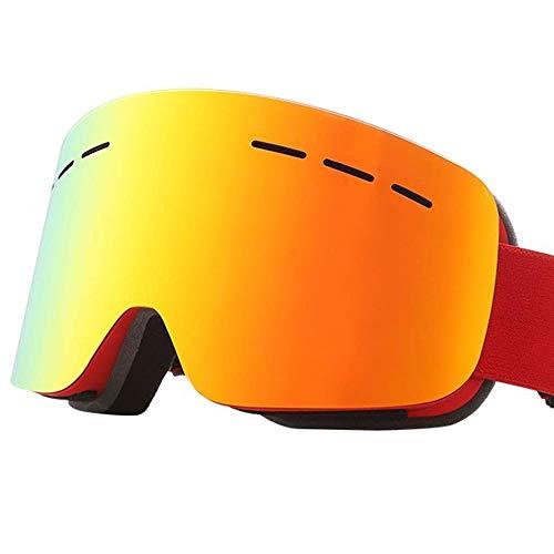 LQLQL Skibrille für Unisex-Sport-Sonnenbrillen Anti-Fog Dual-Layer-Objektiv Anti-UV für den Winter im Freien für Motorrad Rahmenlos Sphärisch, Rot