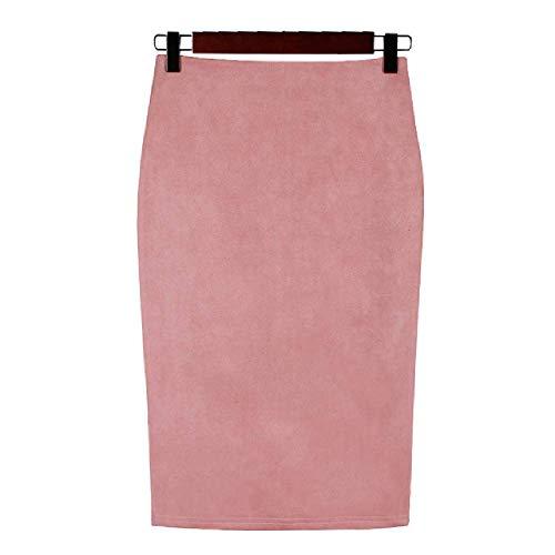 Frauen Röcke Wildleder Solide Bleistiftrock Weibliche Herbst Winter Hohe Taille Vintage Split Dicke Stretchy Röcke
