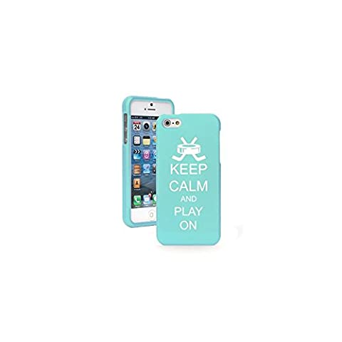 Apple iPhone 4 4s Light Blue Snap On 2 Piece Rubber Hard Case Cover Keep Calm and Play On Hockey