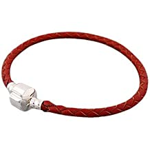 Andante-Stones - original, plata de ley 925 sólida, pulsera de cuero trenzada, ROJO RUBÍ con cierre a presión 22 cm Bead Clip para las pulseras de cuero European Beads + saco de organza