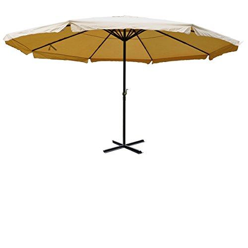 Mendler Sonnenschirm Meran, Gastronomie Marktschirm mit Volant Ø 5m Polyester/Alu 28kg ~ creme ohne...
