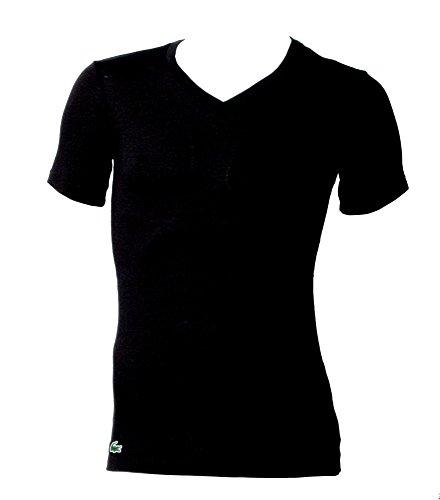 LACOSTE 3er Pack Herren T-Shirt, V-Neck, Slim Fit, Unifarben - Schwarz/Grau/Weiß: Größe: M (Gr. Medium)