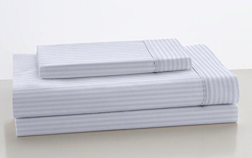 ESTELA - Juego de sábanas de satén LISTADO Color Blanco (3 Piezas) - Cama de 135/140 cm. - 100% Algodón - Satén de 300 Hilos - con Bajera Ajustable DE 40...