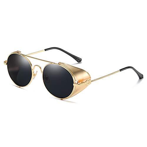 AMZTM Vintage Sonnenbrille Steampunk Stil Runder Metallrahmen für Frauen und Männer - Viktorianischen Double Bridge Brille mit Seitenschild(Gold Rahmen Graue Linse)