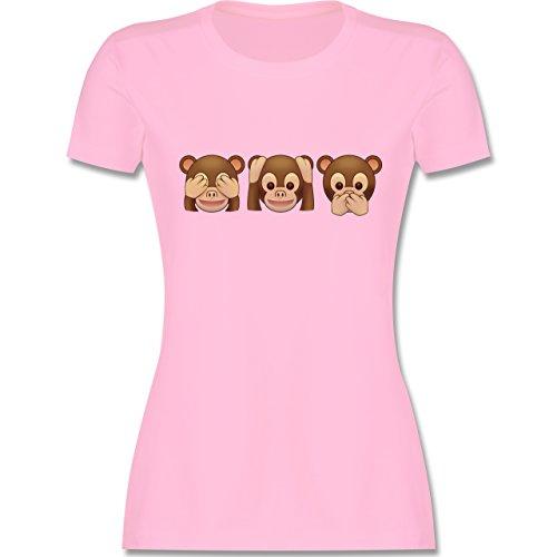 Comic Shirts - Äffchen Emoji - S - Rosa - L191 - Damen Tshirt und Frauen T-Shirt