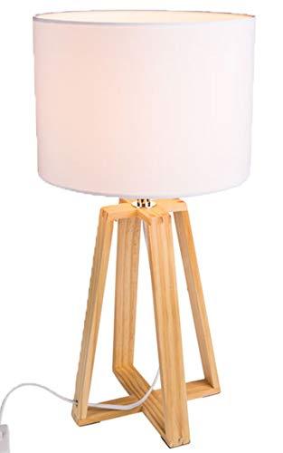 Bada Bing Tischleuchte Stativ Ca. Ø 25 x H. 49 Cm Variante II mit Holzfuß Schirm weiß Lampe Leuchte NEU 86